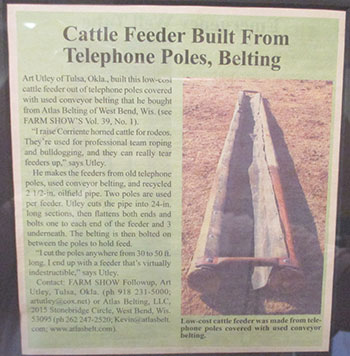 Farm Show Article - Cattle Feeder Built From Telephone Poles, Belting