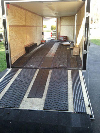 snowmobile trailer with custom rubber matting