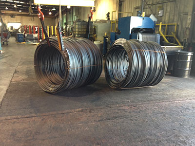 Heavy steel coils resting on our coil pads